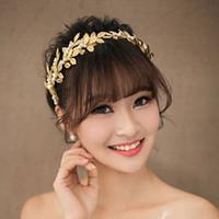 Wholesale Headband Chains - Pearl Crystal Gold plated Leaves Vine Wedding Headband Hair Accessories Bridal Headwear Hair Jewelry Rhinestone Head Chain NE197