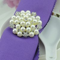 Wholesale Napkin Pearl - New flower Imitation pearls silver Napkin Rings for wedding dinner,showers,holidays,Table Decoration Accessories Z535
