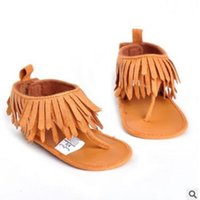 Wholesale Newborn Baby Shoes For Girls - Newborn Princess Baby Shoes Tassel Thong Sandal for Girls 2017 Summer PU Leather Tassel Shoes Princess Baby Girl Shoes Toddler Bebe Sandals