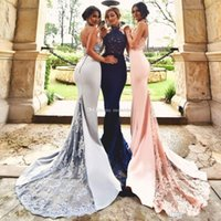 Real Images Modest Mermaid Robes de bal 2017 Halter Appliques Beads Backless Trumpet Bleu marine Blush Silver Cheap Evening Party Gowns Custom