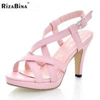 Wholesale Platform Size 32 - Wholesale-Size 32-43 Women's New High Heel Sandals Gladiator Fashion Lady Sexy Platform Sandals Heels Summer Shoes Sandals P372