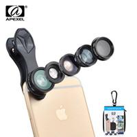 iphone мобильный объектив оптовых-APEXEL 5 в 1 рыбий глаз широкоугольный макро-объектив телескоп телеобъектив CPL мобильный телефон объектив камеры для iPhone Samsung xiaomi DG5 +B