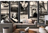 marilyn monroe mural venda por atacado-Atacado Grande Personalizado Do Vintage PretoBranco Figura Marilyn Monroe 3d Foto Mural Papel De Parede para Café Bar Sala de estar 3d Fresco