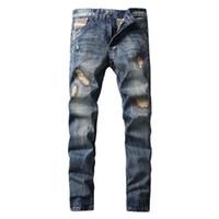 Wholesale High Waist Distressed Jeans - 2017 High Quality Men Skinny Jeans Faded Effect Men Denim Pants Slim Biker Jeans For Men Distressed Denim 29-40 Inches Waist