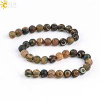 Wholesale Dzi Beads Eye - CSJA 10mm Retro Old Eye Tibet Dzi Agate Round Loose Beads Men Women Necklace Bracelet Prayer Jewelry Making Color Mixed Wholesale Beads P010