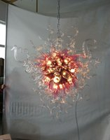 moderna iluminación colgante rústico al por mayor-Art Deco Rústico Luz Colgante Moderno Cristal Soplado Cristal LED Bastante rosa y tubos de vidrio transparente