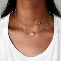 Conception De Chaînes En Or Blanc Pas Cher-Nouvelle conception de mode Rose White Resin Stone Round Pendentif Gold Color Double Layers Chain Choker Colliers pour femmes