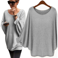 Wholesale Oversized Sweaters Wholesale - Wholesale- 2016 New Fashion Women Winter Loose Sweater Long Batwing Sleeve Solid Sweater Female Design Oversized Knitted Pullover Sweaters