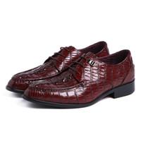 zapatos de vestir altos de color marrón de los hombres al por mayor-Moda hombre zapatos de cuero genuino de alta calidad negro marrón con cordones oficina de negocios zapatos de vestir masculinos hombres