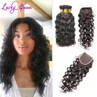 Wholesale Hot Water Hair Extensions - Hot Sale Peruvian Water Wave Hair Extensions Bundles With Closure Wave Cheap Human Hair With Closure Free Shipping