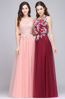 Wholesale Soft Pink Evening Dresses - Fall Dark Red Pink A Line Dresses Evening Wear Jewel Neck Soft Tulle Long Evening Gowns with Lace Appliques Cheap Prom Dresses CPS708