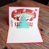 Wholesale 3d Handmade Card Designs - New Handmade Christmas Tree Design Merry Christmas Cards Creative Kirigami & Origami 3D Pop UP Greeting Card for Kids Friends