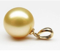 Wholesale 16mm South Sea Pearl Pendant - Perfect Round 15-16mm South Sea natural golden Shell Pearl Pendant Necklace 14K