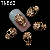 Wholesale Nail Glitter Skulls - Wholesale- 10pc Alloy Glitter 3d Nail Art Skull Decorations with Rhinestones,Alloy Nail Charms,Jewelry on Nails Salon Supplies TN863
