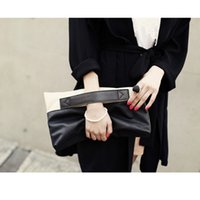 Wholesale Trendy Yellow Handbags - Patchwork Handbags For Ladies Fashion Zipper Lady PU Day Clutches New Envelope Bags For Women Trendy Elegant Party Handbags