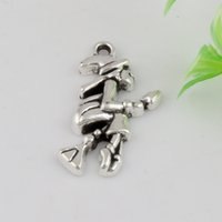 Wholesale Wholesale Witches Brooms - Hot ! 200pcs 14 x 25 mm Ancient Silver Single-sided Witch Broom Stick Charm DIY Jewelry