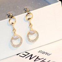 Wholesale Korean Chandelier Earrings - Korean Sweet Crystal Zircon Earrings for Women Silver   Gold Filled Hollow Out Round Dangle Earrings Wedding Party Jewelry