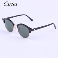 Wholesale Flash Drive Boxes - Carfia round Authentic 4246 Sunglasses 2016 New Arrival 51mm Women Sunglasses Plank Frame Flash Mirror Lenses with Original Box FreeShipping