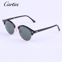 Wholesale Flash Sunglasses - Carfia round Authentic 4246 Sunglasses 2016 New Arrival 51mm Women Sunglasses Plank Frame Flash Mirror Lenses with Original Box FreeShipping