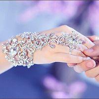 Wholesale White Prom Gloves - Luxury Elegant Crystal Rhinestones Diamonds Bracelet Wedding Glove Bridal Party Prom Jewelry Wristband Bracelets Hot Selling