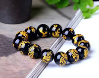 Wholesale Natural Carving Beads - Natural obsidian stone beads carved dragon bracelet. 14 mm beads