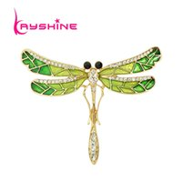 Wholesale Dragonfly Rhinestone Brooch - New Arrival Luxury Brooch Gold plated with Green Enamel Rhinestone Dragonfly Brooches for Lady Pin Gift Jewelry