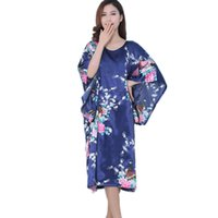 Wholesale Chinese Clothing Wholesale Women - Wholesale- 2016 Batwing Sleeve Satin Robe Chinese Style Sexy Bathrobe Robes Vestido Printed Silk Dressing Gown Ladies Pijama Women Clothing