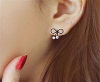 yay inci küpe saplamaları toptan satış-Moda takı Kore Inci Küpe Rhinestone Moda Bow Earing En Iyi Hediye düğün saplama küpe ücretsiz kargo