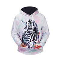 abrigos de cebra al por mayor-Unique Zebra 3D impreso sudaderas y suéteres a estrenar invierno otoño Hip Hop abrigo con capucha para hombres BL-130