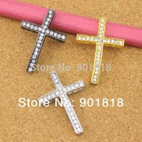 Wholesale Charms Beads Sideway - 10pcs bag Wholesale Gold Rhodium Gunmetal Rhinestone Sideway Cross Bracelet Charms Pendants for Jewelry Making Accessories F293