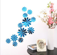 Wholesale Children S Bedroom Wall Stickers - Three - dimensional mirror chrysanthemum art wall stickers children 's room wedding party wild simple decoration 12pcs set G708