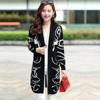 Wholesale Women Coats Fat - Wholesale- Korean version of fertilizer to increase size women fat MM spring knit cardigan B wool long sections loose sweater coat