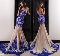 Wholesale see through bodice prom dresses - 2017 Sexy Prom Evening Dresses Mermaid Sweetheart Royal Blue Lace Applique Bodice Champagne Tulle Skirt Long See Through Skirt African Gowns