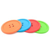 Wholesale Button Design Cup - Wholesale- Cup Pad Cute Design for Home Use Button Coaster Silicone Cup Mat