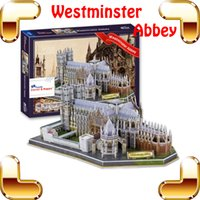 Wholesale Puzzle London - New Year Gift London Westminster Abbey 3D Puzzle Church Puzzle Model Building DIY Toy Learning Game Decoration Fun Game Present