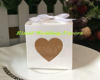 fenster geschenkkästen geben verschiffen frei großhandel-(50 Teile / los) Silberner Hochzeitssüßigkeitskasten mit Liebesherz Fenster für Parteigeschenkkasten und Hochzeitsandenken Bevorzugungskasten Freies Verschiffen