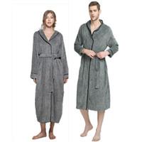 Wholesale Grey Dresses For Women - Winter Grey Fleece Unisex Bathrobe Peignoir Nightgowns Robes Sleepwear Towel Bath Robe Dressing Gown for Women Men XL-5XL