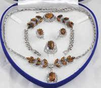 Wholesale Mixed 18k Gp Necklace - free shipping > Rare 18K White Gold GP Inlay Tiger's Eye Necklace Bracelet Earring Ring No box