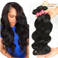 Wholesale real hair waves - Brazilian Virgin Hair Body Wave 4 Bundles Queen Hair Products Real Virgin Brazilian Human Hair Weaves Wet And Wavy Natural Color 100g PCS