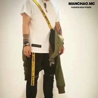 Wholesale High Tide MC Quality Goods OFFWHITE F W OW LOGO Embroidery Metal Head Yellow Industry Weave Bring Belt