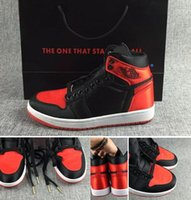 Wholesale Satin Dragon - Wholesale Retro 1 Satin OG BANNED black dragon scales Top Quality Basketball Shoes Men With Box