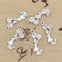 Wholesale- 99Cents 8pcs Charms cheerleader cheer girl 28 * 10mm antique faire ajustement pendentif, argent tibétain vintage, collier de bracelet de bricolage