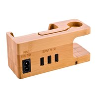 ingrosso stazione di ricarica di bambù-Bamboo Dock per ricarica USB / Supporto per caricabatterie per Apple Watch / iPhone