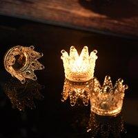 suporte de vela do casamento do vidro de cristal venda por atacado-Decoração de casamento ou festa de qualidade superior artesanal artifical cristal coroa de vidro suporte de vela