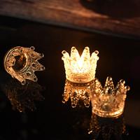 ingrosso supporto di candela di cerimonia nuziale di cristallo-Portacandele a forma di corona di cristallo artificiale fatto a mano di qualità superiore per decorazioni di matrimoni o feste