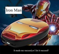 Wholesale Wholesale Iron Man Power Bank - The Avengers Power Bank Charger Captain America Iron Man Superman Spiderman Shield USB 8000mAh Portable Charger for all mobile phone with
