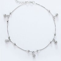 Wholesale Christmas Ball Ornaments Sale - 2017 hot sale new arrival Europe and the United States silver anklets hollow ball foot ornaments