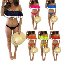 Wholesale Top Sexy Online - Patchwork Style Ruffles Top Tankinis Set Two Pieces Sexy Off Shoulder Swimwear Hot Sale Summer Vacation Style Beachwear Bathingsuits Online