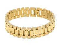 Wholesale Stainless Steel Bracelet 15mm - Men Stainless Steel Hip hop Style Bracelet 24k Gold Silver Watch Band Bracelet Link Fashion Punk Jewelry 15mm 21mm