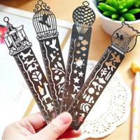 Wholesale Cute Bookmark Diy - 4 Type Metal DIY Bookmark Ruler Hollow Mini Cute Drawing Bookmarks Air Template